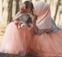 Wholesale Long Peach Skirt - 2018 Saudi Arabia Long Sleeve Prom Dresses For Mother And Duaghter Top Sequined Silver And Peach Skirt Dubai Evening Gown Formal