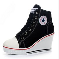Wholesale Wedge Sneakers Wholesale - Black White Women sneakers Shoes Platform Hidden Wedge Boots Shoes For Women High Heel Top Canvas Shoes Casual Shoes Ladies 35-42