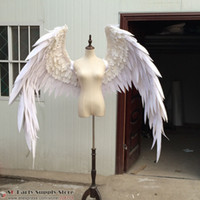 Wholesale Show White Costume - Costumed beautiful white red cartoon feather angel wings for Fashion show Displays wedding shooting props Cosplay game costume