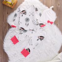 traje de pijama xl al por mayor-Ropa de bebé niña niños Conjunto Flecha Salvaje Traje de niño de algodón Ropa de niños Boutique Niños traje Niños Bebés Pijamas Conjunto de niños Traje