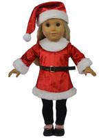 Wholesale Ceramic Christmas Doll - 18 American Girl Doll Clothes Christmas Doll Clothes with Red Christmas Hat, Christmas Dress and Black Belt and Leggings