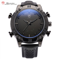 Al por mayor-Kitefin Shark Sport Watch negro doble zona horaria pantalla LED de cuarzo analógico Digital Alarm cuero impermeable Mens reloj de pulsera / SH262