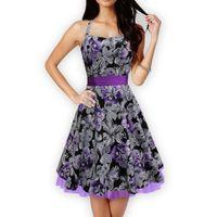 Wholesale Mini Women Retro Dresses - Women Dress Retro Vintage 1950s 60s Rockabilly Floral Swing Bow-knot