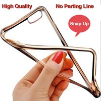 Wholesale Electroplated Battery - Luxury Ultra Thin Soft Tpu Transparent Clear Electroplating Plating TPU Case For iphone 6 6s 7 Plus Case Back Cover DHL Free