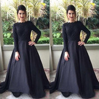 Wholesale Quality Dress Shirts Cheap - 2016 Modest Muslim Evening Dress Black Bateau Neck Long Sleeve Lace Top Prom Party Gowns Cheap High Quality Formal Wear with Sweep Train