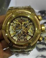 Wholesale Bolt Zeus - UNIQUE Invincible IN 13756 Reserve Bolt Zeus Men's Quartz Watch White Dial Gold S.Steel Band W R 200MT CHRONOGRAPH