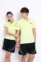 Wholesale Lining Tops Badminton - Li-Ning men Woman Badminton T-Shirts, new 2017 Quick Dry Lining Fitness Sportswear stripe Sport Running Shirt Tops Jersey,tennis shirts