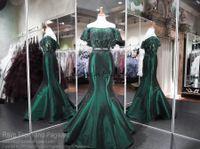 2-teiliges fischschwanz-abschlussballkleid großhandel-Emerald Green Off The Shoulder Zweiteiler Mermaid Prom Dresses 2018 Spitze Perlen Stain Fishtail Abend Formal Wear Pageant Kleider