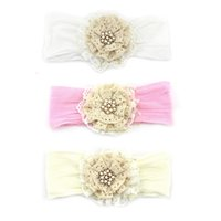Wholesale Elastic Lace Rhinestone Headband - Vintage Baby Headband with Lace Pearl and Rhinestone Elastic Hair Floral Accessories Newborn Photography Props 12pcs lot QueenBaby