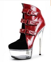 Wholesale Thick Punk Boots - Women's sexy motorcycle Boots thick heel boots sexy 7 inch high-heeled pumps Punk color block 17cm High Heels Ankle Boots