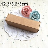 Vente en gros 50pcs / lot 12.3X3.2X3CM Brown Kraft Paper Box Carton Gift Packing Boxes Wedding Favor Candy Boxes Livraison gratuite