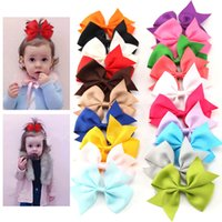 Wholesale Hair Clips Bow Lace - baby lace headband Hair Bows Girls Baby Ribbon With Alligator Clip Lot Children Hairpin Color Hair Ribbon Bow Hair Accessories 20pcs