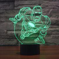 настольные пластиковые дети оптовых-Бесплатная доставка 7 изменение цвета летающий Железный человек 3D пластиковый светодиодный ночник с USB-зарядным устройством настольная лампа для детей подарок ребенку