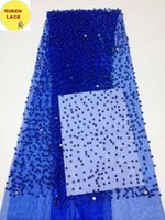 Wholesale Tulle Material Wholesale - High Quality African Tulle Lace Fabric For Wedding Beaded Material Fabric Blue Tulle Lace