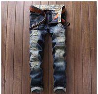 Wholesale Alternative Media - Christmas gift for New men's jeans child punk alternative white cloth color stitching nightclub sportsman Slim Straight jeans