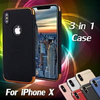 Wholesale Plated Armor - 3 in 1 Case Matte Frosted Plating Slim Shockproof Full Hard Plastic Armor Cover Case For iPhone X 8 7 Plus 6 6S Samsung Galaxy S9 S8 Note 8