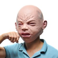 Wholesale Masquerade Costumes Wholesale - Wholesale-Halloween Costume Prop Cry Baby Full Head Latex Rubber Masquerade Mask Funny Party Face Masks
