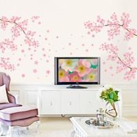 autocollants de fleurs roses achat en gros de-DIY Romantique Rose Prune Fleur Arbre Sticker Mural Salon Chambre Sticker TV Canapé Fond Décor À La Maison Papier Peint Murale