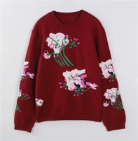Wholesale High End Red Wine - 2016 Autumn High End Wine Red Flowers Knitted Women's Pullovers Long Sleeves Celebrity Women's Sweaters 101208