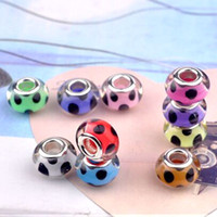 Wholesale Pink Resin Beads Fit Bracelet - 50pcs lot Fashion Round Black Dot Silver Core Big Hole Resin Charms For Jewelry Making Loose DIY Beads fit European Bracelet necklace