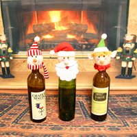 Wholesale Cute Wholesale Snowmen Decor - Santa Claus Wine Bottle Cover Christmas Cute Snowman Towel Holder Xmas Home Party Decor Cartoon Decorations Gifts Toys JF-84