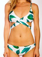 Wholesale Fashion Women s Fresh Leaves Printing Cross Padding Bikini Set Leaf pattern bikini sexy split swimsuit Sexy halter fast and tight
