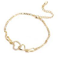 bracelets de cheville achat en gros de-Femmes d'été Bijoux plaqué or jaune 18 carats CZ coeurs Double Bracelet Bracelet de chaîne pour les filles des femmes pour soirée de mariage