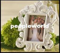 Wholesale Cheap Wedding Photo Frames - 400pcs cheap White Baroque photo frame wedding place card holder picture frames