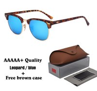 Wholesale Choice Fashion Case - 8 color choices Brand sunglasses men women travel sun glasses High quality driving glasses glass lenses with cases and box