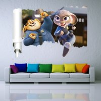 Wholesale Kids Fox Wall Decals - Zootopia 3D Wall Stickers New Cartoon Movie Nick Fox Judy Rabbit Home Decor Mural Decal Children Kids Gift Free Shipping