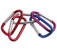 "Wholesale D Shape - 2"" 5cm Assorted Colors D Shape Spring-loaded Gate Aluminum locking Carabiner for Home, Rv, Camping, Fishing, Hiking, Traveling and Keychain"