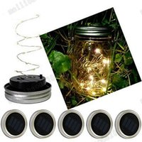 NOUVEAU Solar Powered LED Mason Jars Light Up Lid 10 LED String Fairy Star Lights Screw on Silver Lids pour Mason Glass Jars Christmas Garden MYY