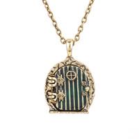 Wholesale antique gold locket pendant - Wholesale-door locket necklace Bilbo Baggins vintage retro antique gold pendant movie jewelry for men and women wholesale