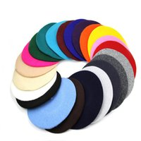 Wholesale French Artist Hat - Fashion Solid Wool Winter Women Girl Berets Hats Caps French Artist Beanie Hat Ski Cap For Female fashion Accessories