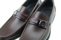 Wholesale Flattering Plus Size Dresses - Luxury brand men leisure dress shoes Real Leather metal Buckle Logo suits shoe Zapatos Hombre Plus Size 45 46