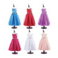 Wholesale Watermelon Prom Dress Color - 2016 Fashion Kids Girls Party Bridesmaid Princess Prom Wedding Dress Back Zip Sleeveless Tutu Dress With back Bow Tie 6 colors DHL free