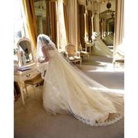 pente do véu do casamento do mantilla venda por atacado-Novo Incrível Para Vestidos De Noiva Uma Camada mantilla véu capela Véu De Noiva Com Pente l ace Edge