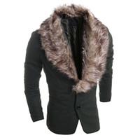 Wholesale korean men fur coat - Wholesale-2016 Classic Hot Fashion Fur Collar Leisure Blazer Suit Jackets Korean Style Stylish Masculino Blazer Coat Free Shipping S1225