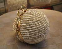 Wholesale Ivory Pearl Wedding Handbag - Wholesale-Best Price Women's Pearl Bag Pearl Beaded Diamond Tellurion Evening Bag Bridal Wedding Round Ball Wrist Bag Clutch Purse Handbag