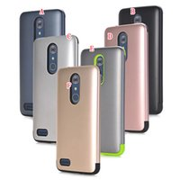 Wholesale Chrome Hard Cover - Hybrid TPU Hard Case For Iphone 8 I8 7 Plus Iphone8 ZTE Zmax Pro Z981 Rose Gold Metallic Dual Layer Shockproof Armor Chrome Skin Cover 50pcs