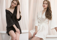 Wholesale Pajamas For Women Cheap - Sexy Silk Bathrobe Black And White Pajamas For Bridal Dresses Comfortable Nightgown With Bling Beads Hot Selling Cheap Nightclothes S-L