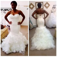 Wholesale Cheap Organza Wedding Dresses Online - 2017 New Plus Size Sweetheart Mermaid Wedding Dresses Ruffles Sweep Train White Bridal Gowns Cheap Online Black Girls Vestidos De Mariage