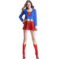 Wholesale Super Sexy Uniform - Sexy Superhero costume Adult Female Superwoman Clothing sexy Uniforms Halloween Costumes Christmas Makeup Cosplay Party Dress
