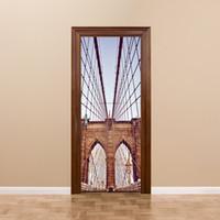 Wholesale new york bridge - New York Brooklyn Bridge DIY Door Mural Sticker Lmitation 3D Stickers Muraux Living Room Waterproof Removable Wall Sticker