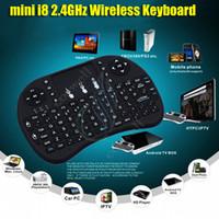 google pads al por mayor-mini i8 2.4G Teclado inalámbrico RII batería recargable Touchpad Control remoto Fly Air Mouse PC Pad Google Andriod TV Caja Xbox360 PS3 DHL