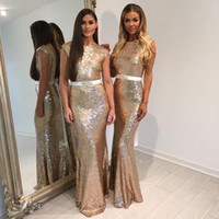 Wholesale Cap Sleeve Glitter - 2018 New Glitter Rose Gold Sequins Bridesmaid Dresses with Belt Cap Sleeves Mermaid Formal Dress Long Evening Gowns Custom Made