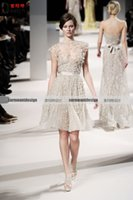 Wholesale Elie Saab Cocktail Dresses - Ivory short sleeve lace sash jewel keen length sash short mini Elie Saab prom graduation cocktail dresses evening gowns party guest