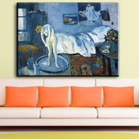 Wholesale Pablo Picasso Oil - ZZ1115 pablo picasso the blue room canvas oil art painting wall pictures for livingroom bedroom decoration unframed prints art