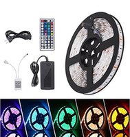 Wholesale Eu Plug Led Strip - Waterproof Strips IP65 5M 300 Leds 5050 RGB Led Strips 60 leds + Remote controller +12V 5A power supply EU US AU UK Plug