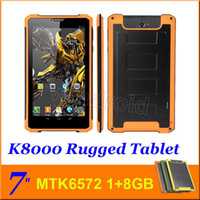 Wholesale Android Tablet Big Inch - Rugged tablet pc K8000 7 inch MTK6572 dual core 1GB 8GB 3G WCDMA Android 4.2 WIFI GPS big battery 1024*600 Dustproof Outdoor Phablet